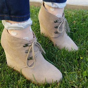 Steve Madden Suede Taupe Booties